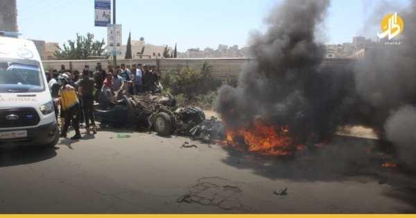 فيديو- مقتل ضابط في «الجيش الوطني» وإصابة آخرين بانفجار عبوّة ناسفة في عفرين