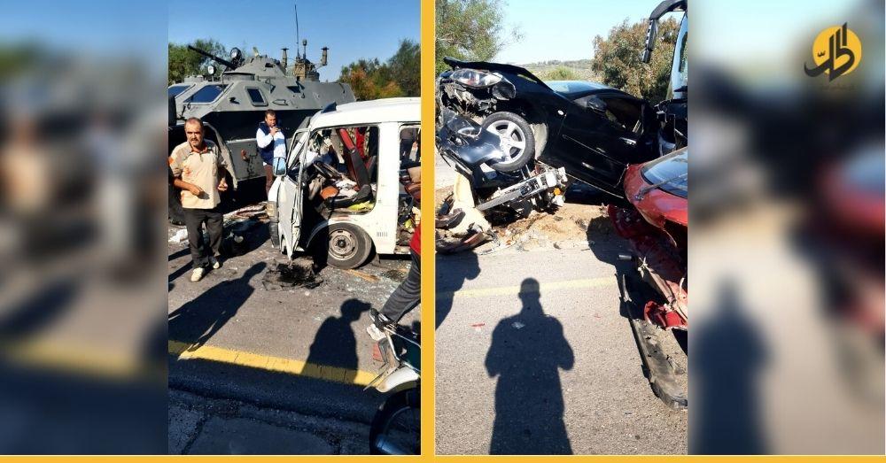 """""""حادث مرعب"""".. تصادم 15 سيّارة على طريق طرطوس"""