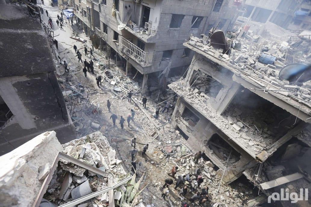 100 قتيل و 250 جريح حصيلة قصف جوي على مدينة دوما بريف دمشق