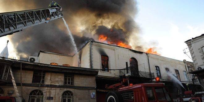 حريق في سوق الحميدية ..والسبب ماس كهربائي