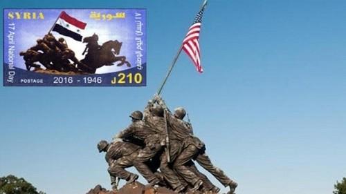 """النظام يصدر طابعاً يحمل صور جنود أمريكيين.. ومؤيدو النظام يصفونه بـ""""الفضيحة"""""""
