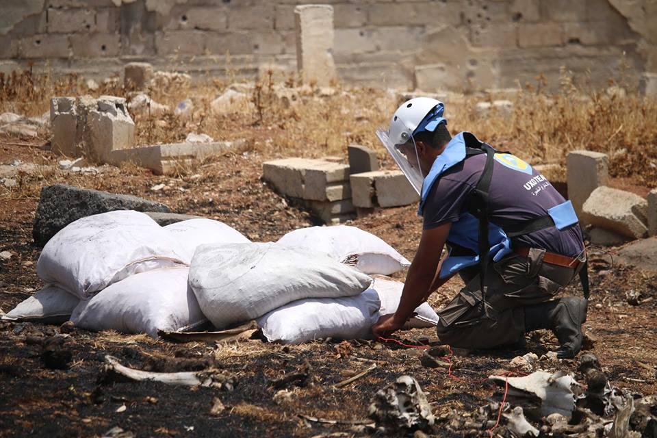 للأسبوع الثاني على التوالي فريق UXO للذخائر الغير منفجرة يتابع عمله في مدينة درعا