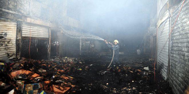 وفاة مدنيين اختناقاً بسبب حريق في سوق الهال بدمشق