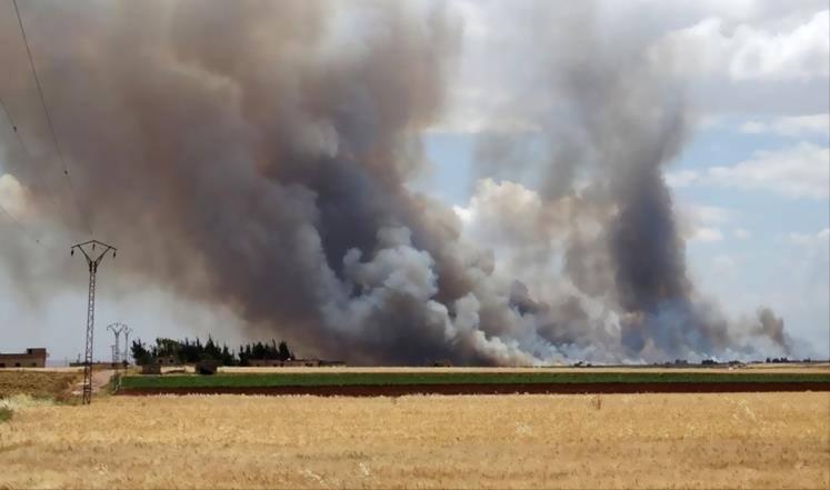 قصف على ريف حماة يوقع قتيلة وجرحى ويلحق أضرارا بالمحاصيل الزراعية