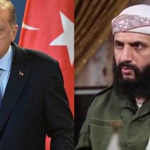 زعيم جبهة النصرة أبو محمد الجولاني على اليمين والرئيس التركي رجب طيب إردوغان على اليسار - تركيبة صورية