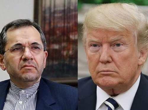 على اليمين الرئيس الأمريكي دونالد ترامب، وعلى اليسار سفير إيران لدى الأمم المتحدة مجيد تخت روانجي