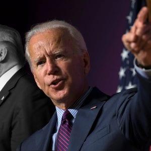 المرشح الرئاسي المحتمل للرئاسة الأمريكية من الحزب الديمقراطي جو بايدن (يمين) والرئيس الأمريكي دونالد ترامب (يسار)