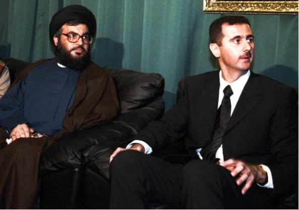 الرئيس السوري بشار الأسد (يمين) وزعيم حزب الله اللبناني حسن نصر الله (يسار)