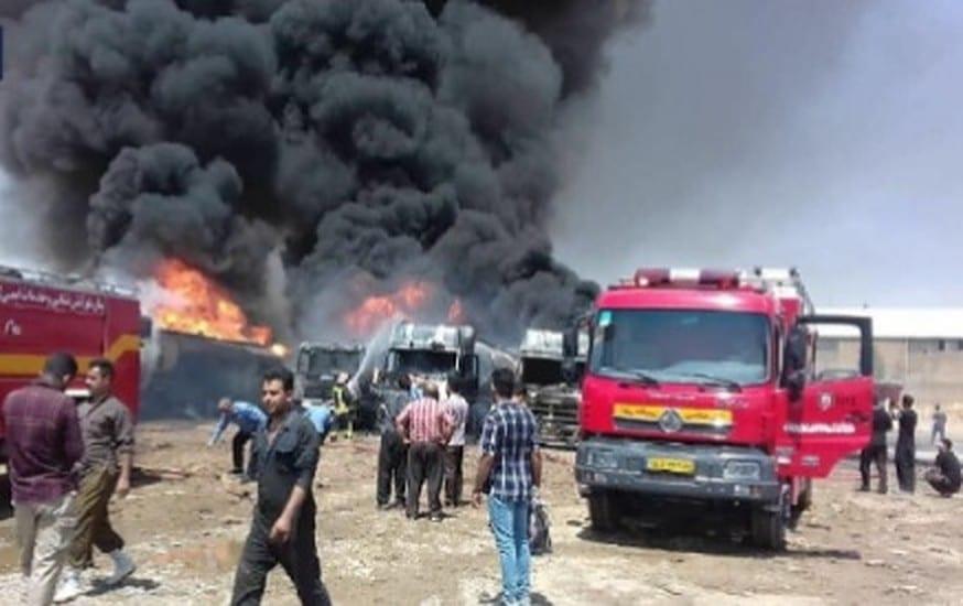 جرحى بانفجار وحريق في مخازن وقود إيرانية بـ كرمانشاه (فيديو)