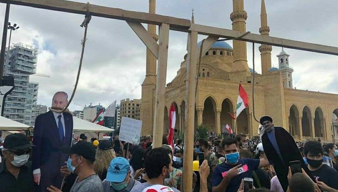 """""""نصر الله"""" وعون وبري وكافة المسؤولين السياسيين على """"مشنقة"""" المحتجين في وسط بيروت"""