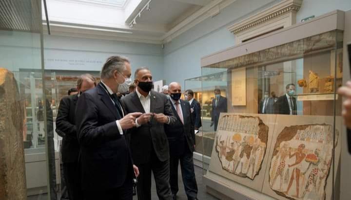 """""""الكاظمي"""" يختتم جولته الأوروبية ويستعيد /5/ آلاف قطعة أثرية من المتحف البريطاني"""