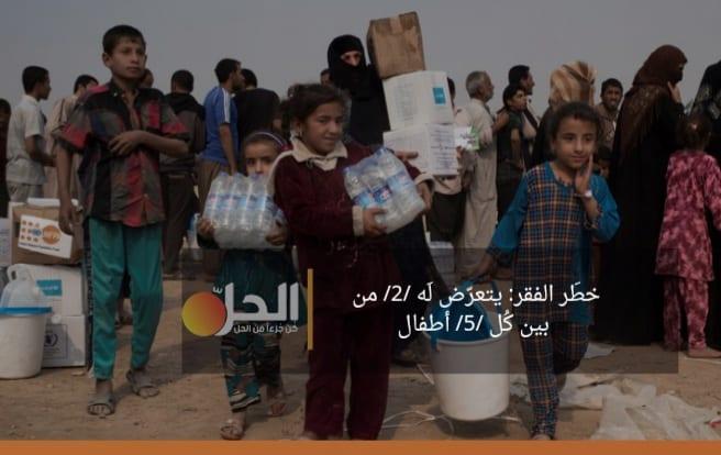 """""""اليونيسف"""": خطَر الفقر يُهَدّد (40 %) من أطفال العراق"""