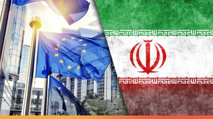 علم إيران وعلم الاتحاد الأوربي ـ انترنت